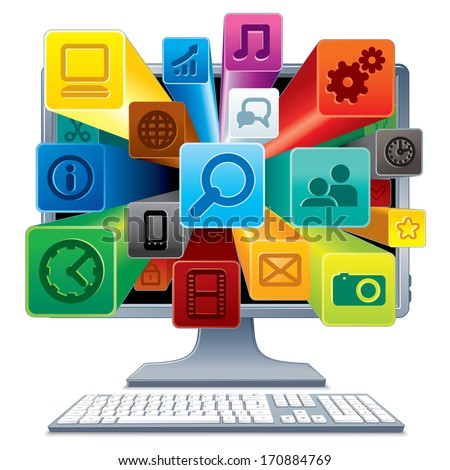 Desktop Computer and Group of Media Icons from Display. Social Network Concept. Vector Image Isolated on White Background. - stock vector