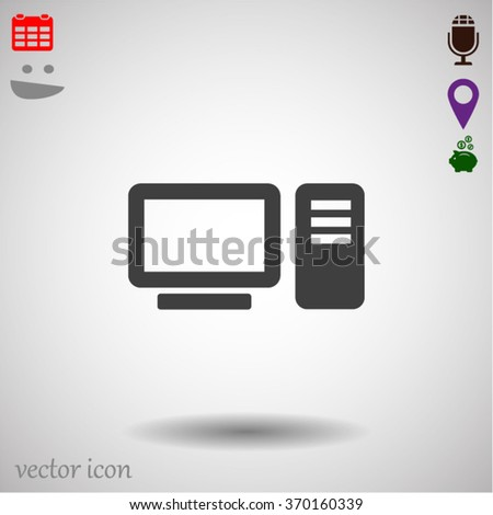 desktop computer icon Vector icon 10 EPS - stock vector