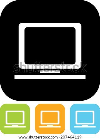 Desktop computer vector icon - stock vector