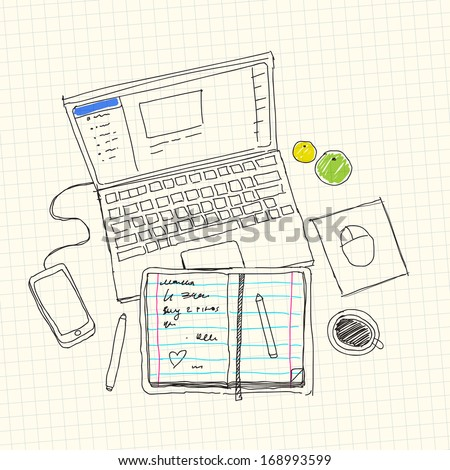 desktop sketch - stock vector
