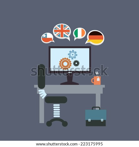 desktop translator   illustration - stock vector