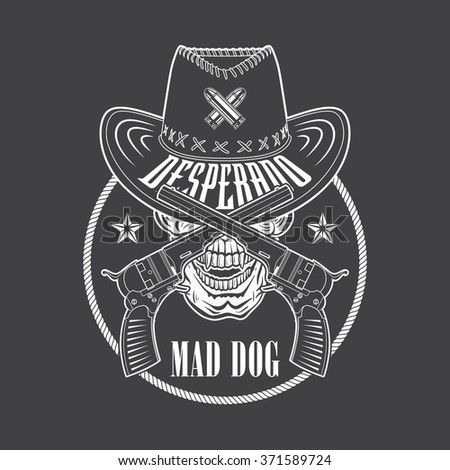 Desperado Cowboy Emblem Hat Guns Rope Stock Vector ...