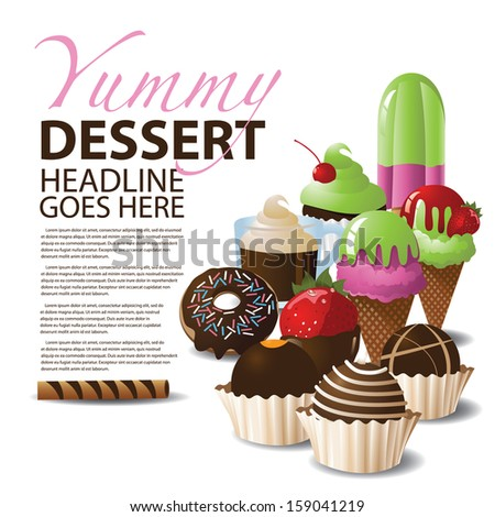 Dessert Ad Template with Copy Space. EPS 10 vector, grouped for easy editing. No open shapes or paths. - stock vector