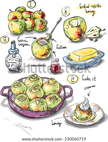 Dessert baked apples. Step by step recipe of dessert apples with sugar and cinnamon baked in the oven. Dietary and baby food, homemade food. - stock vector