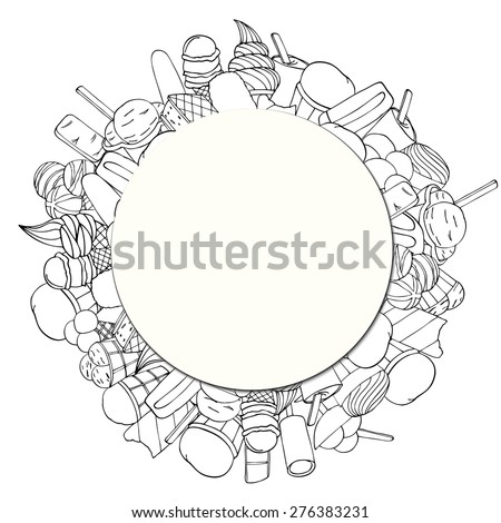 Dessert Circular Background with Copy Space on Ice creame. Vector illustration - stock vector