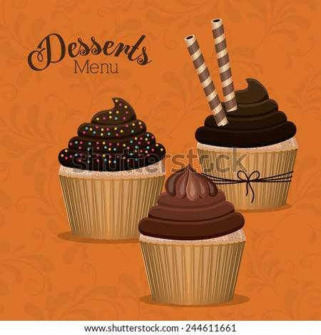 Dessert design over white background ,vector illustration. - stock vector