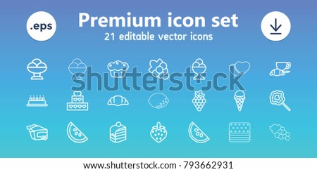 Dessert icons. set of 21 editable outline dessert icons includes grape, grape, ice cream, cake, piece of cake, ice cream ball, coffee and croissant, croissant, pie, lollipop