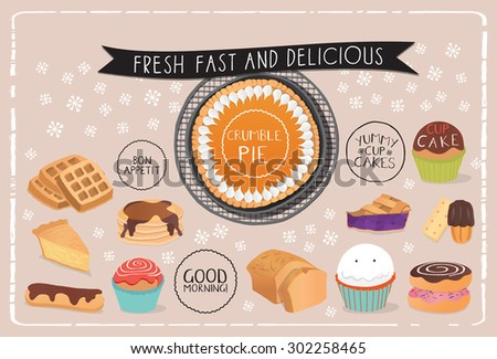 Dessert menu, poster or placemat illustrations. Hand drawn and vector.