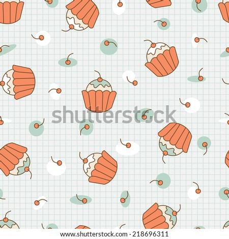 Dessert. Seamless cupcake pattern. - stock vector