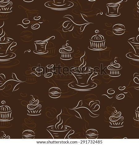 Dessert. Seamless pattern with coffee and sweets.