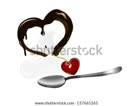 Dessert with fresh cherry and heart
