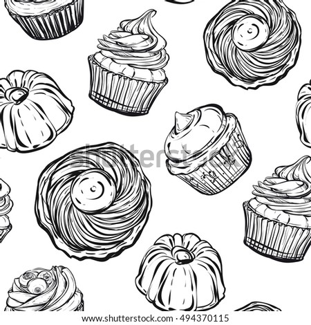 Desserts Cupcakes PiehandmaderetroColoring Book Page Design For Kids