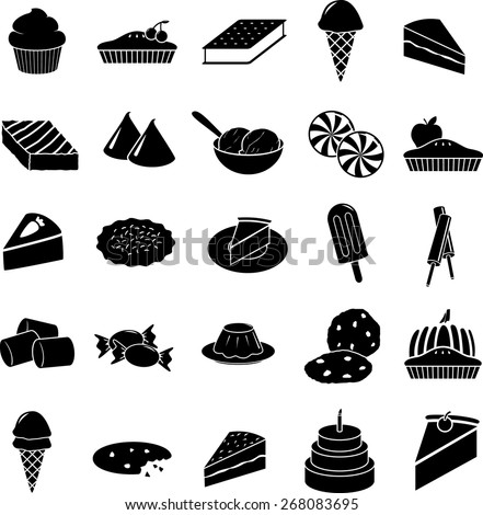 desserts symbols set - stock vector