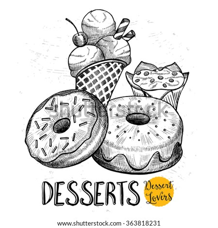 Desserts vintage design, donuts, ice cream with cupcake. Restaurant brochure vector, menu design. Cafe template with hand-drawn graphic. Food flyer. - stock vector