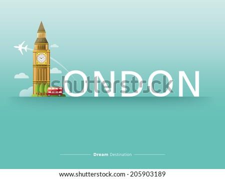 destination, travel, city scape, typography, london, england, big ben - stock vector