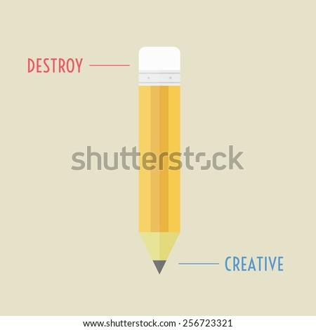 destroy and creative in one pencil, thinking concept, flat style - stock vector
