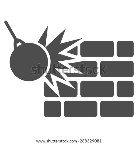 Destruction icon from Business Bicolor Set. Vector style: flat symbols, gray color, rounded angles, white background.