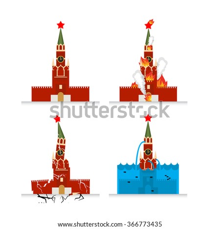 Destruction Moscow Kremlin. Fire in sights. Burns Tower of Kremlin. Natural disasters in Russia. Earthquake destroyed Moscow Kremlin. Cracks and chips. Flooding Moscow. Flooding Russian attractions  - stock vector