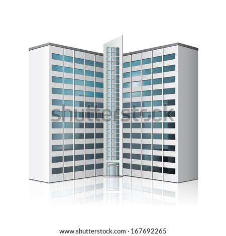 detached multistory office building, business center with reflection - stock vector