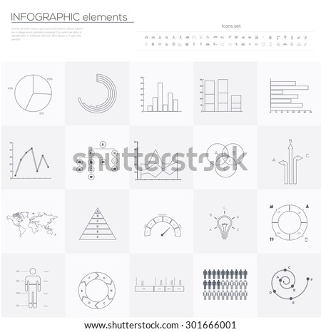 Detail infographic collection Line Art Vector illustration. World Map and Information Graphics  - stock vector