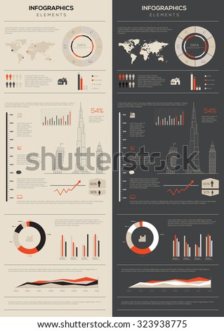 Detail infographic collection vector illustration. World Map and Information Graphics  - stock vector