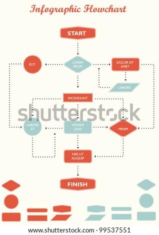 Detail infographic flowchart vector illustration. - stock vector