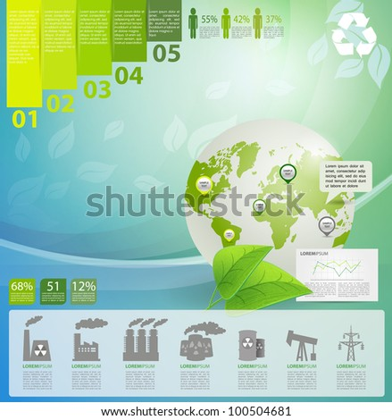 Detail infographic vector illustration with. Globe, industrial infographics and Information Graphics. Easy to edit countries - stock vector