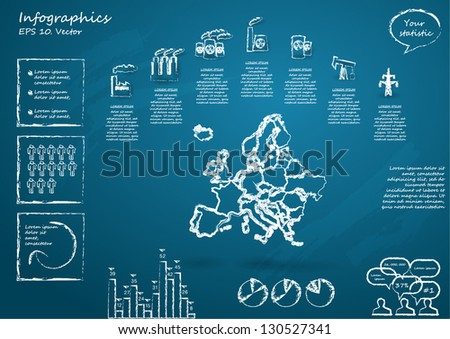 Detail infographic vector illustration with Map of Europe, industrial infographics and Information Graphics.  Drawn with chalk on a blackboard. Easy to edit - stock vector