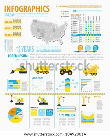 Detail Infographic Vector Illustration With Map Stock Vector - Where Are The Industrial On The Us Map