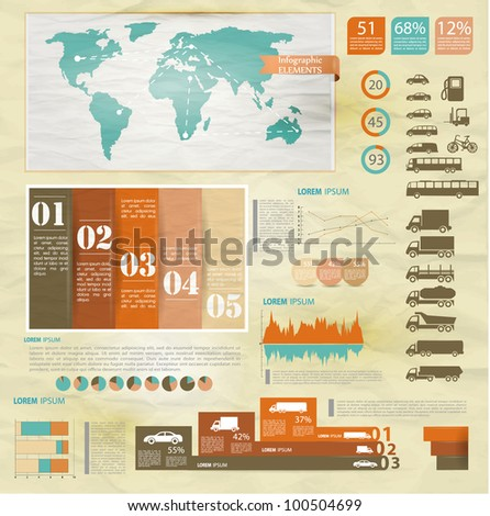 Detail infographic vector illustration with. Map of world, car infographics and Information Graphics.