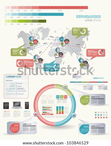 Detail infographic vector illustration with. Map of world, IT icons and Information Graphics. - stock vector