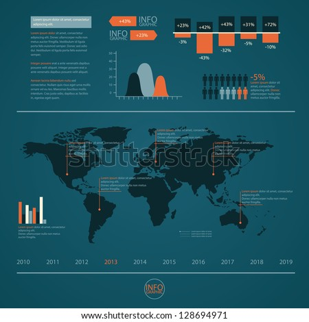 Detail infographic vector. World Map and Information Graphics - stock vector