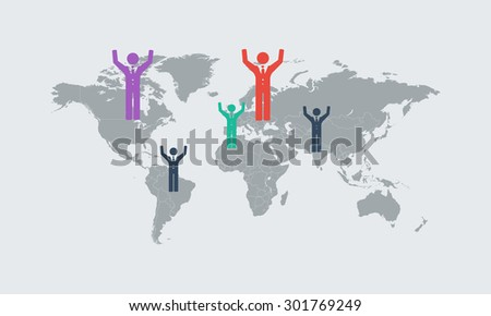Detail infographic World Map and Information Graphics.  White map with blue background