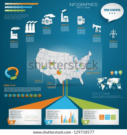 Detail Modern Infographic Vector Illustration Map Stock Vector - Where Are The Industrial On The Us Map