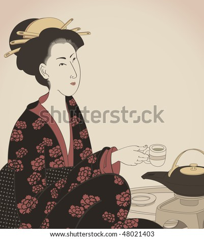 detail of a woman drinking tea- Japanese style drawing- vector - stock vector