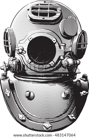 Detail Old Diving Suit Heavy Brass Stock Vector 483147064