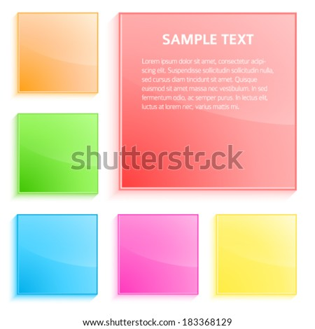 Detail of stained glass window made of slab glass, abstract colors background, glossy glass texture with glow effect design and squares shape elements, artsy luxury backdrop banner  - stock vector