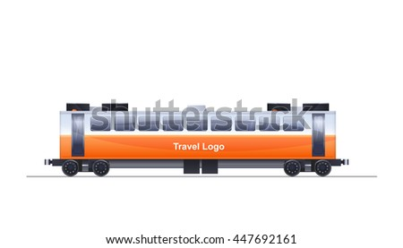 Detail Vector Photo Realistic Color Illustration Of Train Passenger Unit Isolated On White