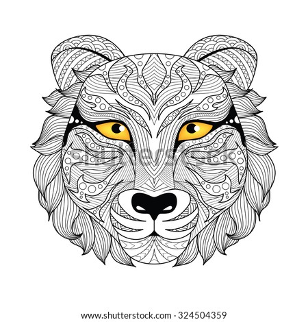 Detail zentangle tiger for coloring page,tattoo, shirt design,logo, sign and so on. - stock vector