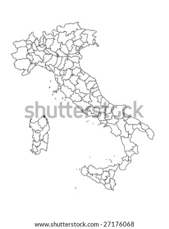 detaile vector Italy map with all regions