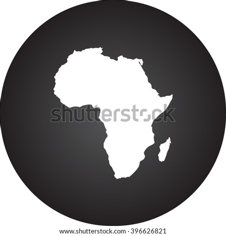 Detailed Africa continent simple icon on round background - stock vector