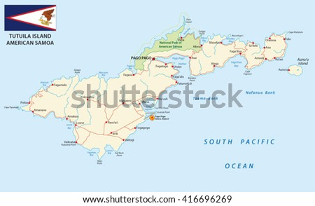 detailed american samoa vector road map with flag