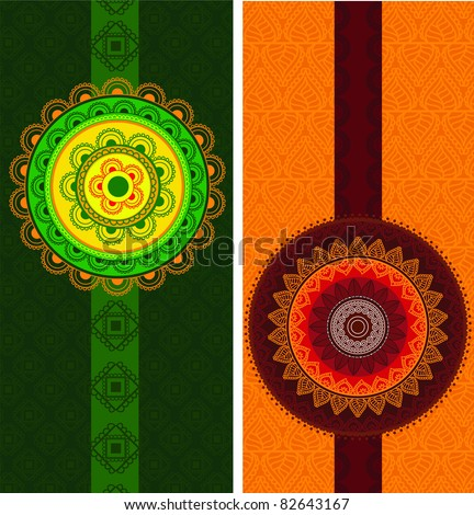Detailed and Colorful Henna mandala Designs, Easily editable - stock vector