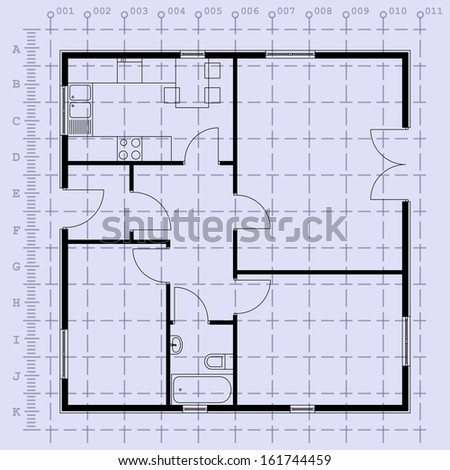 Detailed architectural plan. EPS10 vector illustration  - stock vector