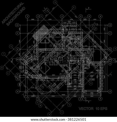 Detailed architectural plan on black vector stock vector 381226501 detailed architectural plan on black vector blueprint architectural background malvernweather Gallery