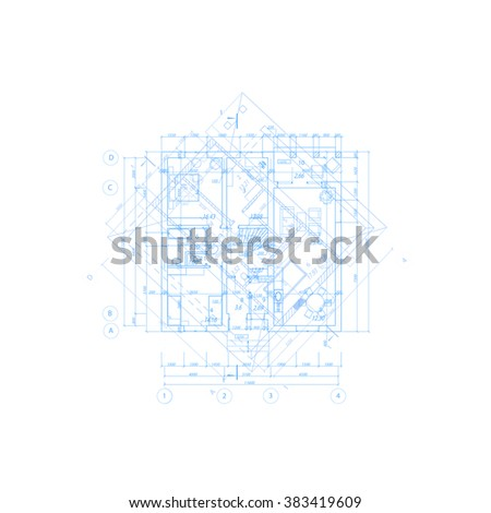 Detailed architectural plan. Vector Illustration. - stock vector