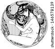 Detailed art-deco decorative vignette as modern satyr female harp player - stock vector