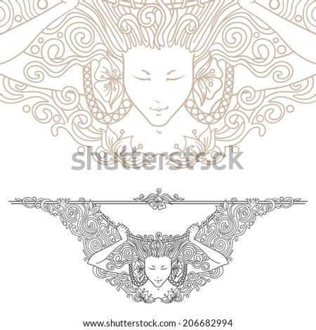 Artists Colouring Book Art Nouveau : Detailed artnouveau decorative divider vintage engraved stock