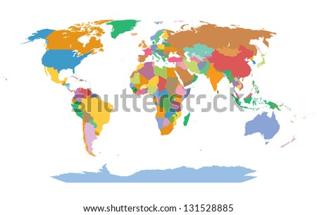 detailed atlas map of the world in color - stock vector