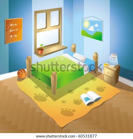 detailed bedroom illustration - stock vector